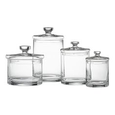 Set Of 4 Glass Canisters   Modern   Bathroom Storage   Crate