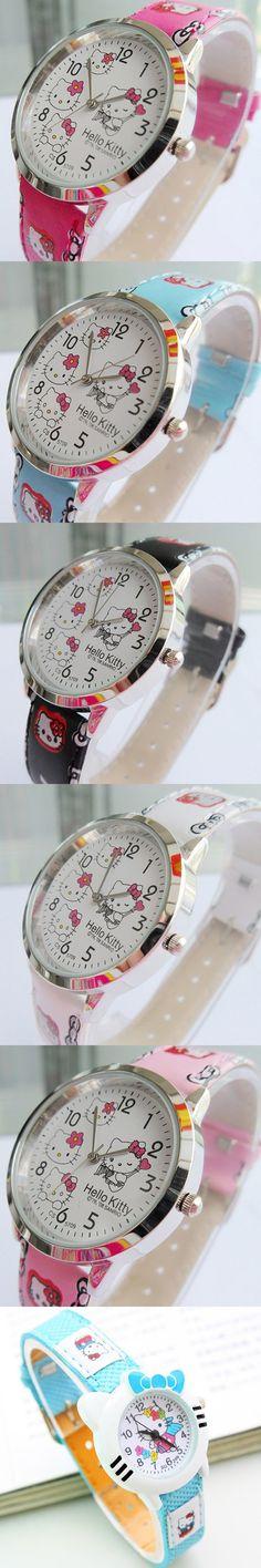 New Hot Fashion Children Watch Cartoon Cute Hello kitty Quartz Watches Leather Girl Kids Wristwatch Christmas Gift Clock relogio $2.66