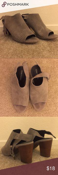 Grey Suede Perforated Slingback Chunk Heel Sandal Super cute grey suede summer heel. Gently worn 💜 Adam Tucker Shoes Heels