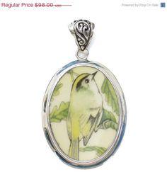 ON SALE Broken China Jewelry Wedgwood Garden Birds Goldcrest Bird Sterling Pendant