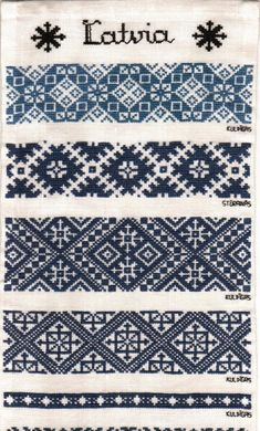 Hungarian Embroidery Stitch Latvian embroidery patterns typical for folk costume blouses and denoting the area in which this pattern is used. Hungarian Embroidery, Folk Embroidery, Learn Embroidery, Vintage Embroidery, Embroidery Patterns, Cross Stitch Embroidery, Cross Stitch Borders, Cross Stitching, Cross Stitch Patterns