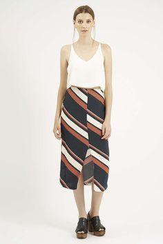 Photo 2 of Diagonal Stripe Split Midi Skirt 68.00