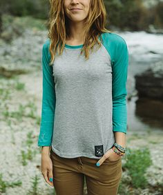 Look what I found on #zulily! Dolly Varden Outdoor Clothing Heather & Turquoise Raglan Tee - Women by Dolly Varden Outdoor Clothing #zulilyfinds