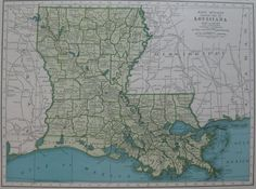 Vintage LOUISIANA Map 1940s State Map of Louisiana by plaindealing