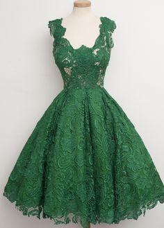 Elegant V Neck Lace Dress