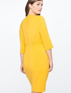 Eloquii Structured Work Dress With Bow Detail - Goldenrod 24