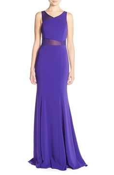 Jay Godfrey Asymmetrical Illusion Mesh & Crepe Gown available at #Nordstrom