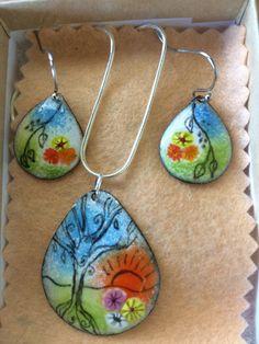 Beautiful whimsical set of enamel earrings and pendant