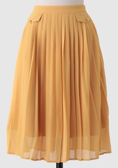 Create a variety of adorable ensembles with this chiffon mustard-hued midi skirt featuring darling pleating and accented with gold-toned buttons.