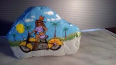 Motorcycles-Women-painted-on-a-rock-2-sides-by-DS-art
