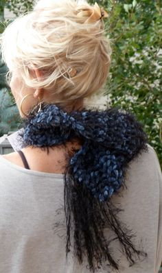 Black Scarf Crochet Blue Winter Accessories by hatsbyanne1942, $35.00