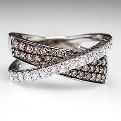 LeVian Crossover Ring Chocolate Diamonds 14K White Gold ~ saving my pennies for...love it! Love at 1st sight!