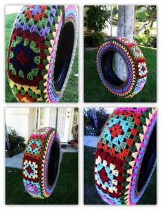 Yarn Bomb Tire Swing. At first glance I thought these were bracelets, hummm.
