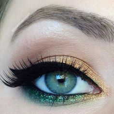 gold and green eye shadow + a cat eye