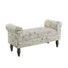 Bench Upholstered Ottoman Home Furniture Storage French Inspired Script Bedroom #Transitional