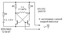 Add-on for frequency counter for inductance measurement.
