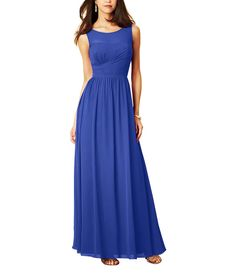 Stylist NotesI love the illusion neckline and ruched waistline that pulls across the ribcage to really emphasize that hourglass shape. -ShannonDescriptionAlfred Angelo Style 7289LFull length bridesmaid dressIllusionnecklineNatural waistChiffon