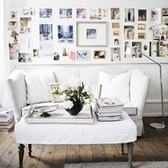 Art Wall: an interesting wall full of art, photos, tear pages