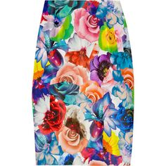 Jil Sander floral-print silk-twill pencil #skirt || Multicolored floral-print silk-twill pencil skirt. Jil Sander skirt has a concealed zip and hook fastening at vented back and is fully lined. 100% silk; lining: 85% cupro, 15% spandex.