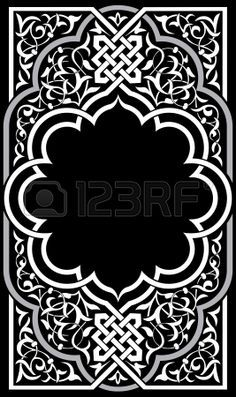 Ornamental eastern design, border frame, monochrome Stock Vector - 23185534