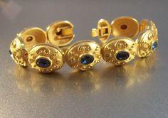 SAPPHIRE RHINESTONE BRACELET Etruscan by LynnHislopJewels on Etsy, $89.00