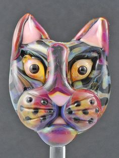 lampwork cat bead striped kitty face   by: julie karnos of silver sage creations