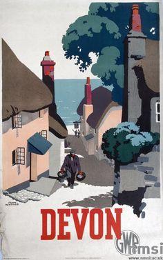 Devon. Great Western Railway Vintage Travel poster by Frank Newbould. 1939