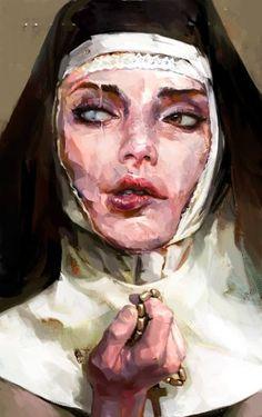 "Saatchi Art Artist Mateja Petkovic; New Media, ""A nun - Limited Edition 1 of…"