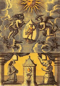 Mutus Liber (Silent Book), 17th Century | The philosopher's stone is shown (below) in the Athanor (alchemists' furnace), while its archetype is personified as Mercury (above) in the hands of the angels. The image emphasizes that the physical operations of alchemy mirror a spiritual reality.