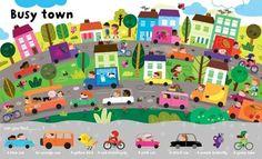 Melisande Luthringer Illustration - melisande luthringer, digital, commercial, novelty, educational, people, towns, cities, city, men, women, man, woman, children, boys, girls, driving, cars, vehicles, houses
