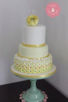 Yellow Ranunculus Wedding Cake