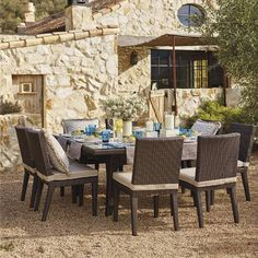 Our Palermo Dining Collection offers generous proportions for ultra-comfortable outdoor dining. The gently curved chair backs and dining         tables are crafted from woven metallic bronze fibers, smoothly double woven down each slightly tapered table and chair leg. Sturdy powdercoated aluminum frames are concealed from sight. Dining tables are topped with tempered glass.                                              Multifaceted metallic bronze fibers                     Handwoven ...