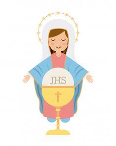 Mama Mary, Dibujos Cute, Divine Mercy, Catholic Art, Mother Mary, Holy Spirit, Gods Love, Hand Embroidery, Christ