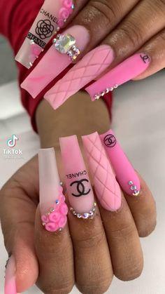 Pink Nails, Gel Nails, Long Square Acrylic Nails, Chanel Nails, Stylish Nails, Coffin Nails, Summer Nails, Nail Designs, Hair Beauty