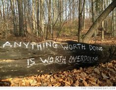 Anything worth doing is worth overdoing. The mythbusters approach!