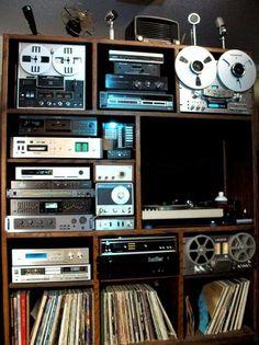 It's Psychedelic Baby Magazine Home Recording Studio Setup, Radios, Vinyl Room, Audio Room, Audio Sound, Music System, Tape Recorder, Hifi Audio, Reading Room