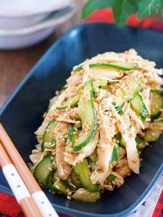 蒸し鶏きゅうりのごま中華サラダ Asian Recipes, New Recipes, Vegetarian Recipes, Cooking Recipes, Healthy Recipes, Curry Recipes, Veggie Rolls, Sushi, Star Food