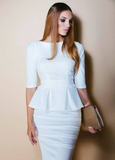 Designed and made by brand Caroline Mode Pure. - 2 piece outfit: Fitted bodice with pleated peplum and a fitted pencil skirt - 3/4 Sleeve length - Knee length skirt- Model featured is 1.80 meters/ 5'9 feet -Materials: 97% polyester 3% lycra Size Ch