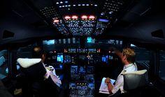 a380 cockpit, a380 cockpit night
