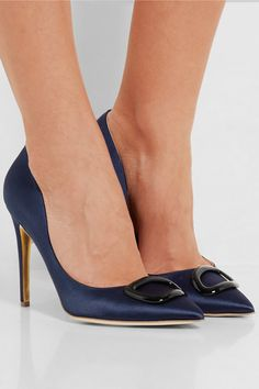 Heel measures approximately 100mm/ 4 inches Navy satin  Slip on Designer color: Moonlight  Made in Italy