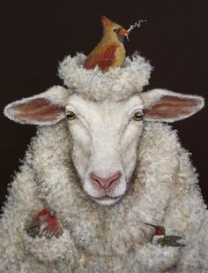 """Painting by Franklin, Tennessee artist Vicki Sawyer, who said """"If birds can build nests, then they can make hats."""""""