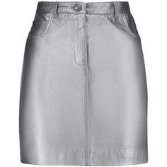 Pierre Balmain Metallic leather mini skirt