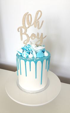 Baby Shower Drip Cake #meringues #meringueshards Cake topper by Katrina Louise Designs on Etsy