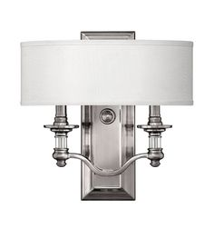 Hinkley 4900BN Sussex 2 Light 14 inch Brushed Nickel ADA Sconce Wall Light in Ivory Fabric Shade #LightingNewYork