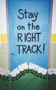 Red Ribbon Classroom Door: Stay on the right track