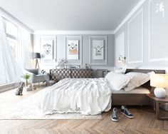 scandinavian wooden bedroom