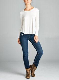 """Ivory Tee $34.00 BACK TO THE BASICS WITH THIS IVORY LONG SLEEVE ROUND NECK LOOSE FIT TOP WITH ROUND HEM.  THIS WILL BE A STAPLE IN YOUR CLOSET. LENGTH: S 25.5"""", M 26"""", L 26.5"""" CHEST: S 17.5"""", M 18.5"""", L 19.5"""""""