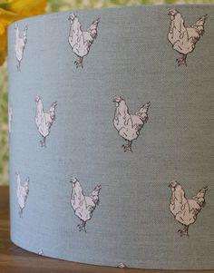 Rachel-Bonas-041 Lamp Shades, Hens, Cotton Linen, Kids Rugs, Fabric, Prints, Handmade, Blue, Design