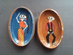 Vintage Mexican Day of the Dead Pottery Plaques by kate05 on Etsy, $20.00