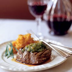 Fillet Steak With Walnut Pesto And Sweet Potato Mash